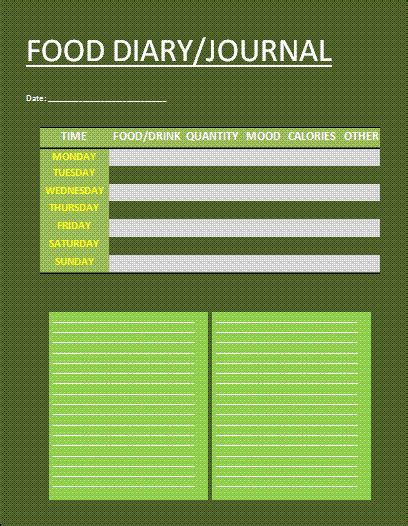 free food journal template food journal template free business templates