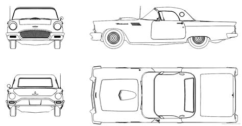 blueprints cars ford ford thunderbird