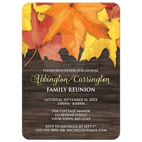 family reunion invitations rustic autumn leaves  wood