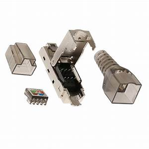 Cat6a Rj45 Network Connector Modular Plugs Shielded Connectors Ethernet Stranded Wire Awg 27  7