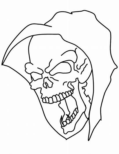Skull Coloring Pages Mask Printable Halloween Scary