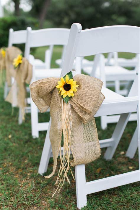 sunflower  burlap bow aisle decor