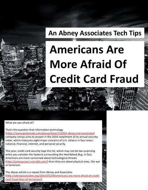 We did not find results for: An Abney Associates Tech Tips: Americans Are More Afraid Of Credit Card Fraud | Visual.ly