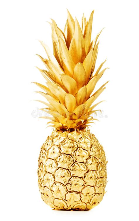 gold pineapple stock photo image  effect front fruit
