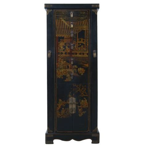 Japanese Armoire by Exp Handmade Accent 51 Inch Antique Style Black