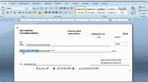 How To Print A Check Draft Template
