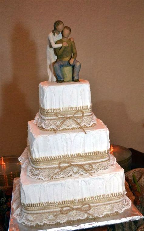 Burlap And Lace Wedding Cake For The Worlds Best Sister