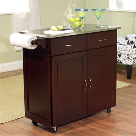 kitchen island with stainless steel top brayden studio dayville large kitchen cart with stainless