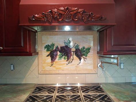 fused glass grapes vines kitchen backsplash designer