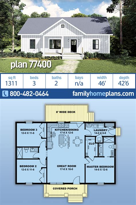 House Plan 77400 Country Style with 1311 Sq Ft 3 Bed 2