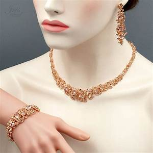 ROSE GOLD Plated Crystal Necklace Earrings Bracelet ...