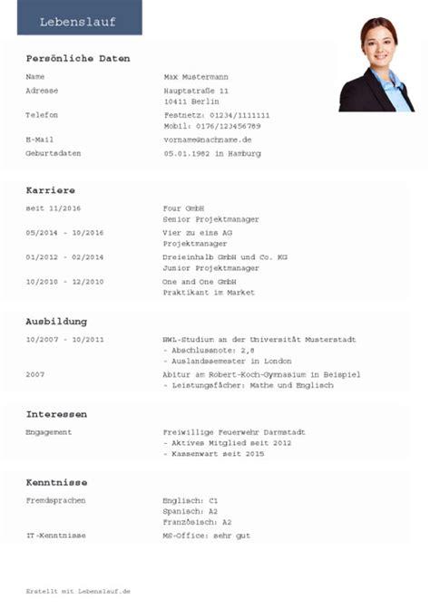 Lebenslauf Vorlage Pdf by Tabellarischer Lebenslauf 4 Llll Lebenslauf Muster Und