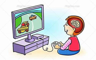 Clipart Playing Games Excess Excessive Computer Children