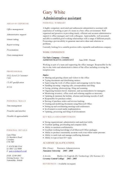 Cv Template For Admin Assistant by Administration Cv Template Free Administrative Cvs
