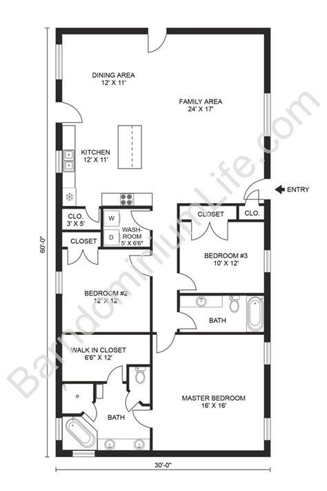 Stunning 3 Bedroom Barndominium Floor Plans in 2020