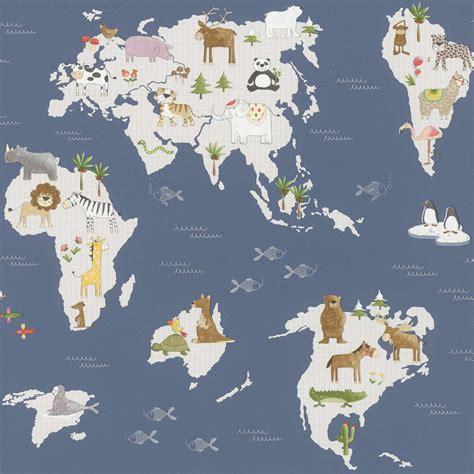 kindertapete landkarte tier blau grau bunt rasch