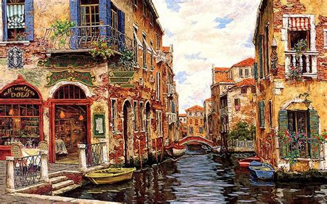 wallpaper tags canal cityscape art scenery wide screen