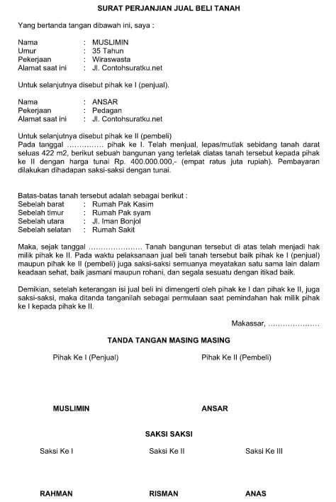 contoh surat perjanjian jual beli rumah bahasa indonesia