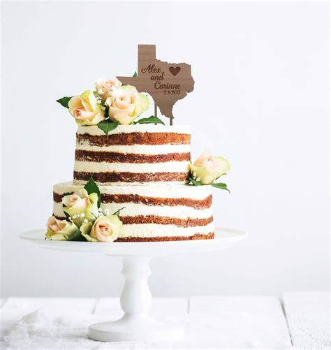 State Cake Topper Rustic Wood Personalized Wedding Cake