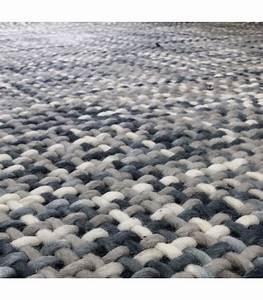 tapis design tresse gris en laine et coton 140200cm With tapis gris laine