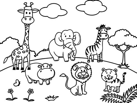 cartoon animals  coloring page wecoloringpagecom