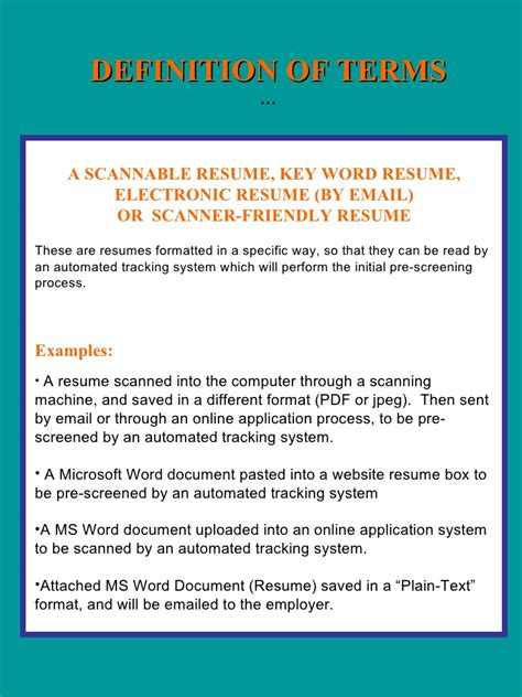 Electronic Formatted Resume Definition by Resume And Coverletter Workshop 2009