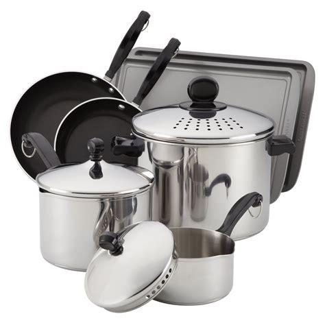 farberware classic  pc cook  strain cookware set  hayneedle