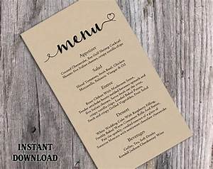 burlap wedding menu template diy menu card template With diy wedding menu template free