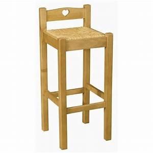 Chaise Bar Bois : chaise de bar en pin avec coeur assise paille achat vente chaise pin bois cdiscount ~ Teatrodelosmanantiales.com Idées de Décoration