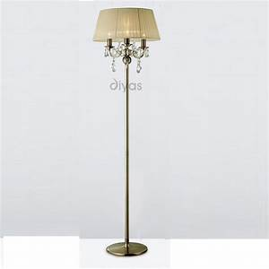 Diyas uk olivia il il30066 cr antique brass crystal three for Cream metal floor lamp