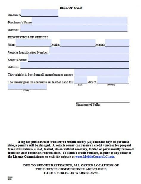 printable sample bill  sale alabama form   real