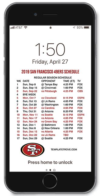 san francisco ers lock screen schedule