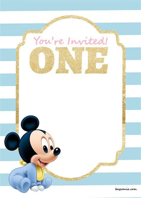 mickey mouse birthday invitation template free printable disney princess 1st birthday invitations templates bagvania free printable