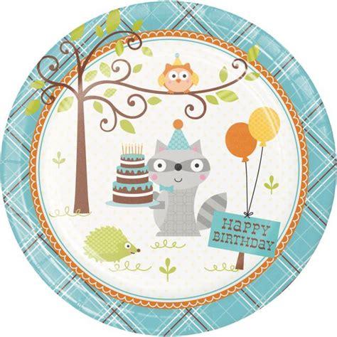 Happy Woodland Boy 9 inch Plates Animal birthday 1st