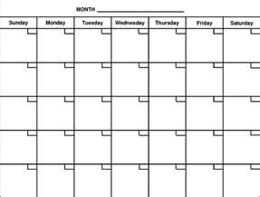 Printable Blank Calendar Print Out