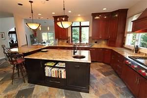 Craftsman Cherry Kitchen with Contrasting Espresso Island