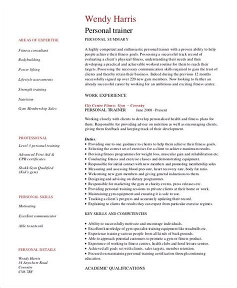 personal trainer resume sle and tips