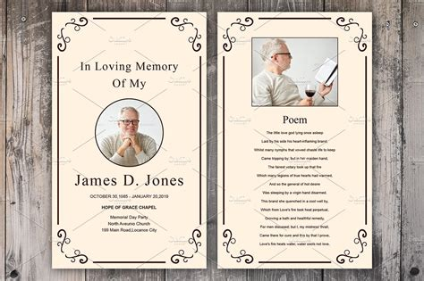 funeral prayer card template card templates creative