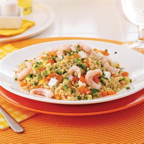 cuisine nordique recettes salade de couscous de blé entier et crevettes nordiques
