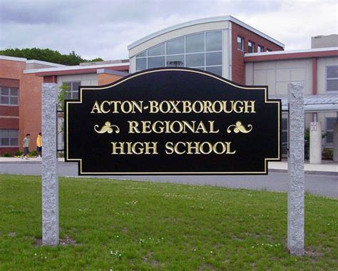 acton ma high school sign granite post sign carved