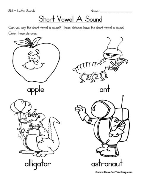 short vowel coloring worksheets coloring pages