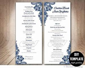 wedding ceremony programs templates navy blue wedding program template instant download by