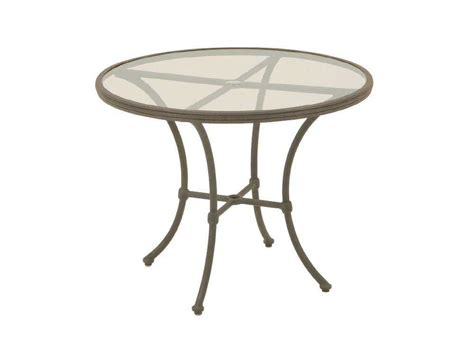 round glass patio table with umbrella hole landgrave hacienda cast aluminum 36 round glass bistro