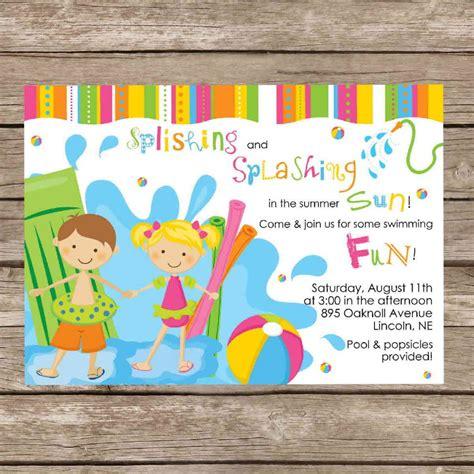 printable birthday pool invitation