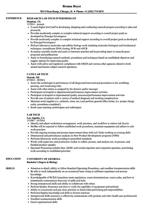 Cath Lab Tech Resume by Lab Tech Resume Sles Velvet