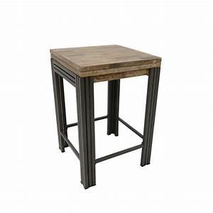Table Carre Extensible : table bar mange debout carr e extensible bois recycl blanchi et m tal noirci 70 140x70x105cm ~ Teatrodelosmanantiales.com Idées de Décoration