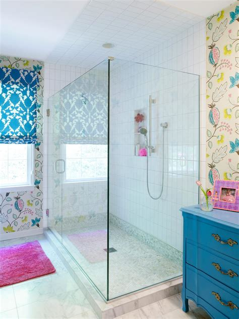 blue bathroom tiles ideas photos hgtv tween bathroom with glass shower idolza