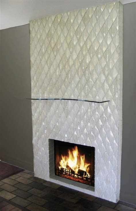 alpentile contemporary glass tile fireplace installation