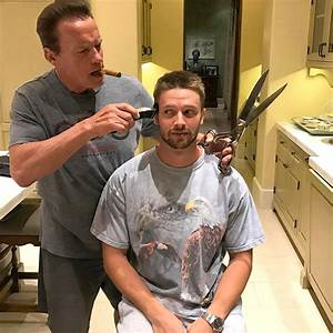Arnold Schwarzenegger Gives Son Patrick At-Home Haircut
