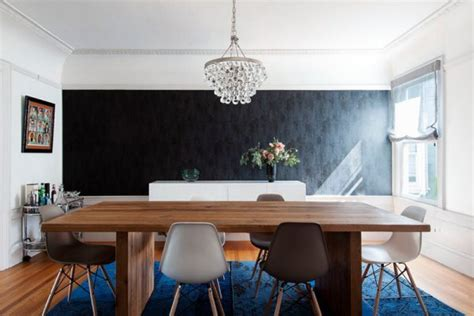 dining room   black accent wall  piece
